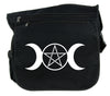 Triple Moon Goddess Pentagram Cross Body Messenger School Bag Witch Occult