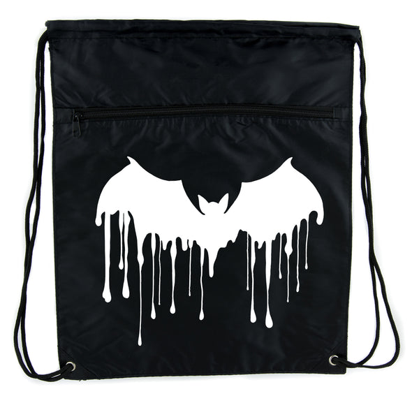 Melting Drip Vampire Bat Cinch Bag Drawstring Backpack Goth Punk