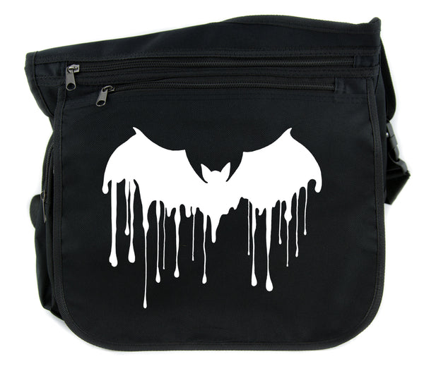 Melting Drip Vampire Bat Cross Body Messenger School Bag Goth Punk