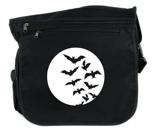 Full Moon w/ Flying Bats Cross Body Messenger School Bag Goth Punk