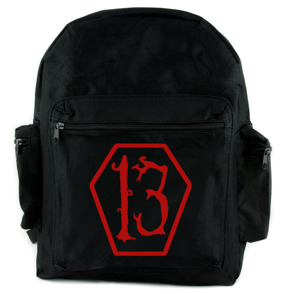 Red Lucky 13 Coffin Backpack School Bag Goth Punk Occult