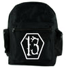 White Lucky 13 Coffin Backpack School Bag Goth Punk Occult