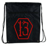 Red Lucky 13 Coffin Cinch Bag Drawstring Backpack Goth Punk Occult