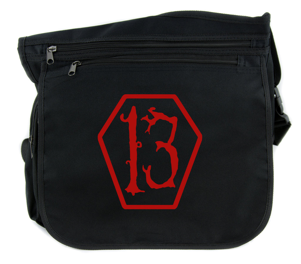 Red Lucky 13 Coffin Cross Body Messenger School Bag Goth Punk Occult