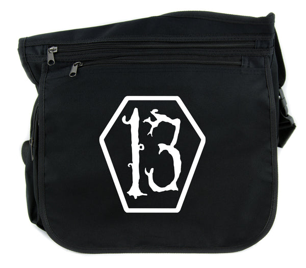 White Lucky 13 Coffin Cross Body Messenger School Bag Goth Punk Occult