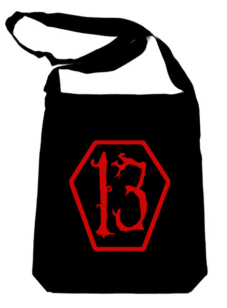 Red Lucky 13 Coffin Crossbody Sling Bag Goth Punk Occult