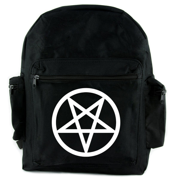 White Inverted Pentagram Backpack School Bag Goth Punk Occult