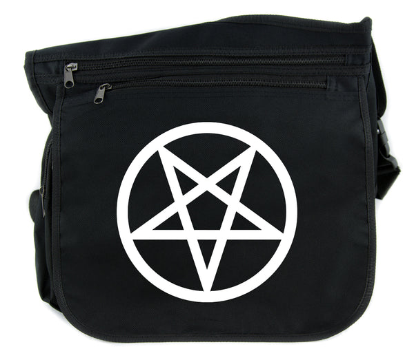 White Inverted Pentagram Cross Body Messenger School Bag Goth Punk Occult