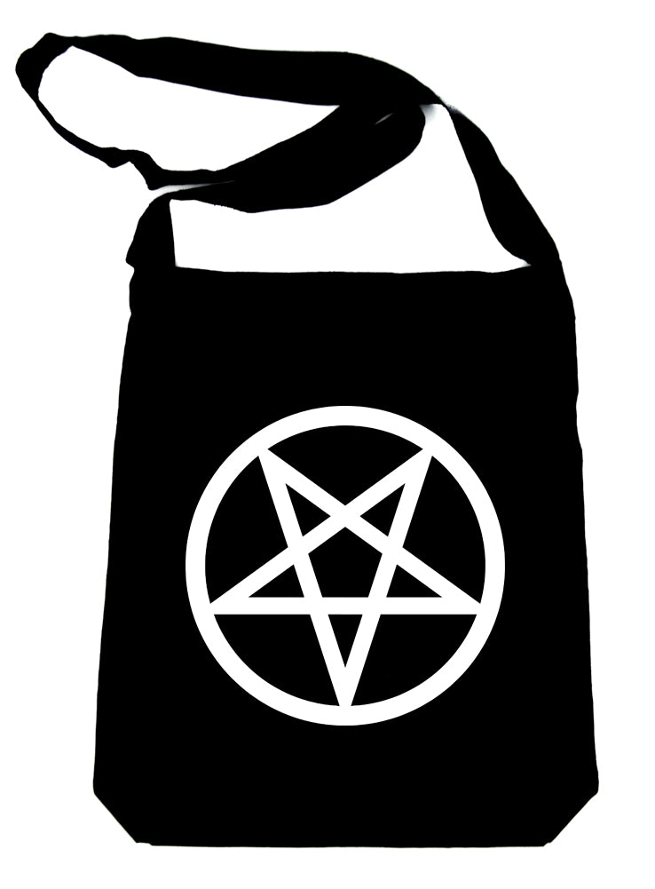 White Inverted Pentagram Crossbody Sling Bag Goth Punk Occult
