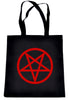 Red Inverted Pentagram Tote Book Bag School Goth Punk Occult