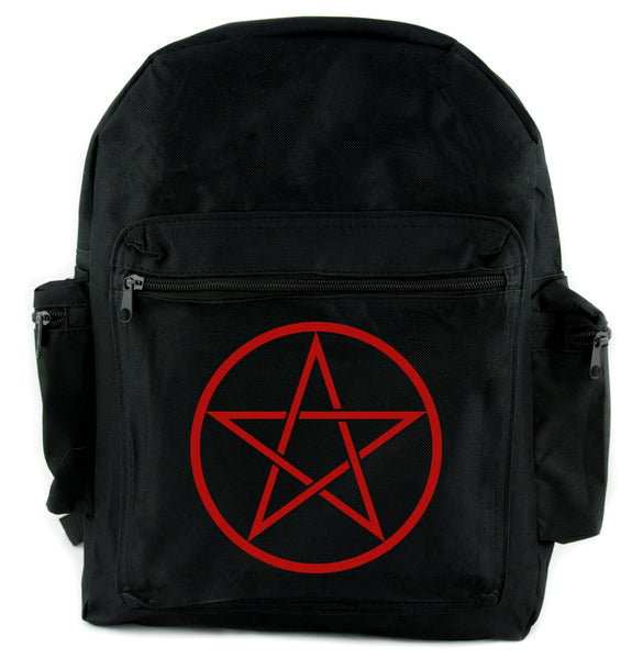 Red Woven Pentacle Backpack School Bag Witch Occult