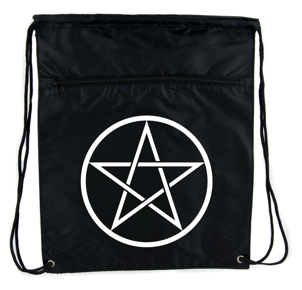 White Woven Pentacle Cinch Bag Drawstring Backpack Witch Occult