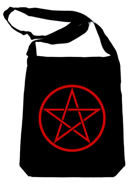 Red Woven Pentacle Crossbody Sling Bag Witchy Occult