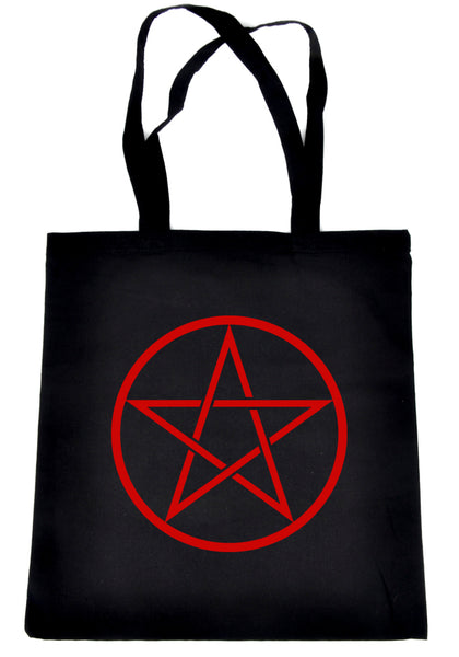 Red Woven Pentacle Tote Book Bag School Goth Witch Occult