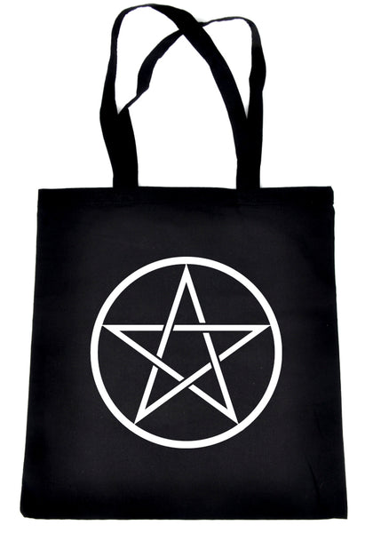 White Woven Pentacle Tote Book Bag School Goth Witch Occult