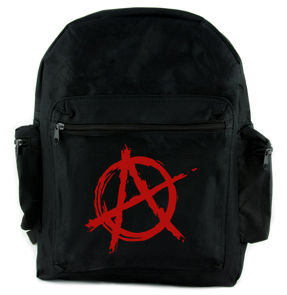 Red Anarchy Backpack School Bag  Punk Rock Oi Goth