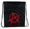 Red Anarchy Cinch Bag Drawstring Backpack Punk Rock Oi Goth