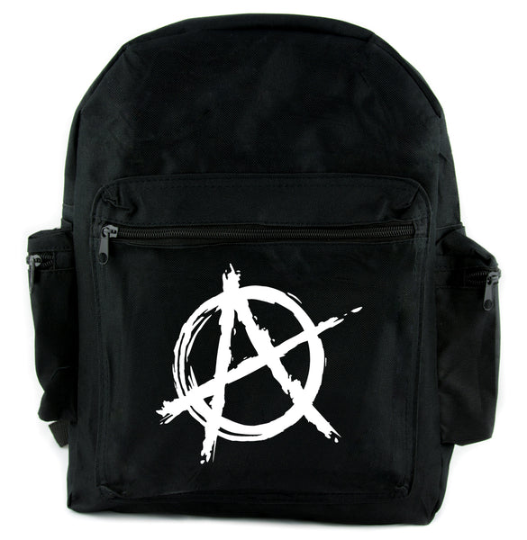 White Anarchy Backpack School Bag  Punk Rock Oi Goth