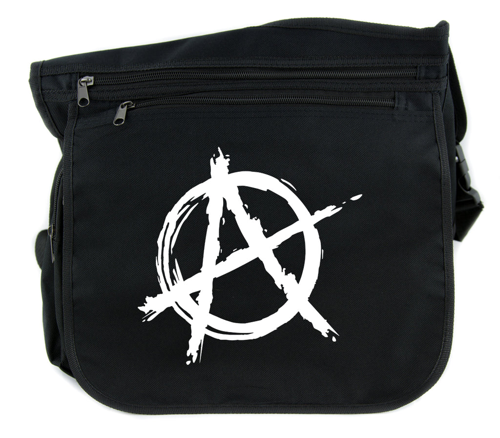 White Anarchy Cross Body Messenger School Bag Punk Rock Oi Goth
