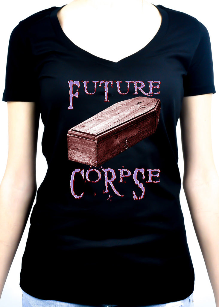 Future Corpse w/ Coffin Women's V-Neck Shirt Top Gothic Clothing