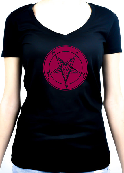 Red Solid Classic Inverted Pentagram Sabbatic Goat Symbol Women's V-Neck Shirt / Top
