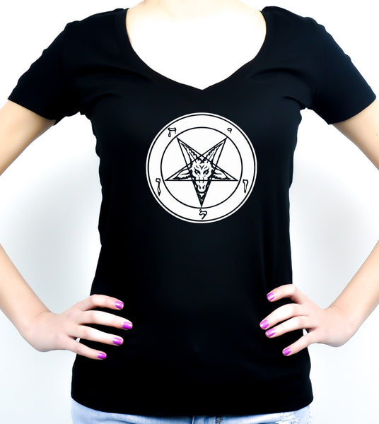 White Solid Classic Inverted Pentagram Sabbatic Goat Symbol Women's V-Neck Shirt / Top