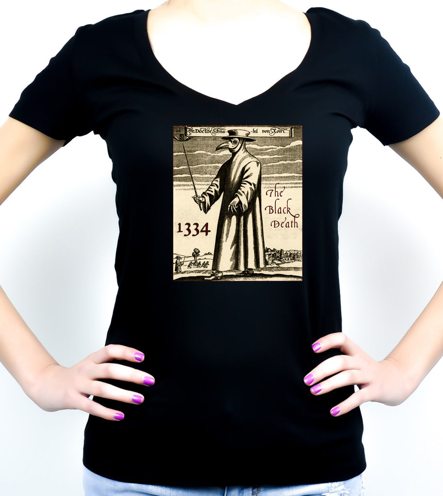 1334 Black Plague Death Doctor Women's V-Neck Shirt Top Occult
