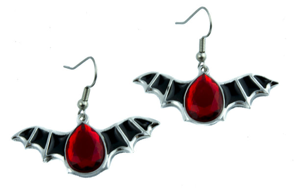 Bat Wings Red Stone Gothic Tear Drop Earrings Alternative Jewelry