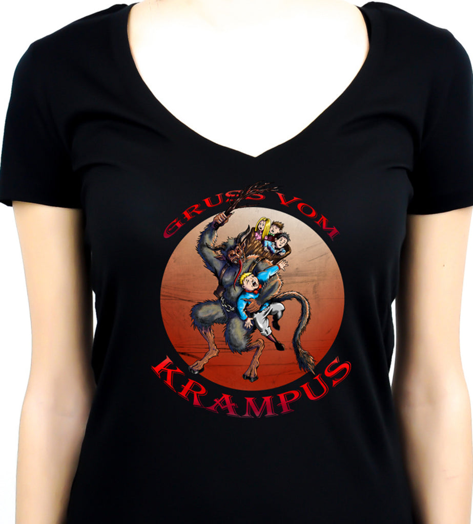 Gruss Vom Krampus Women's V-Neck Shirt Top Christmas