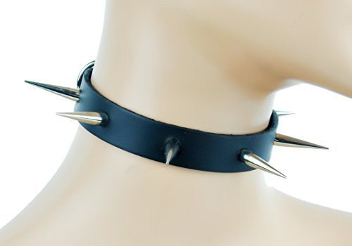 Tall & Skinny Spike Leather Choker Punk Rock Collar