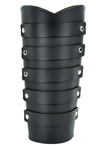 Black Leather Strap Wristband Heavy Metal Armband Gauntlet