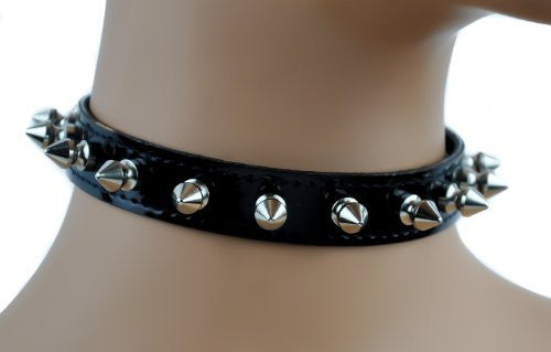 "Black Patent Leather PVC Choker with 1/2"" Spikes Gothic Fetish Collar"