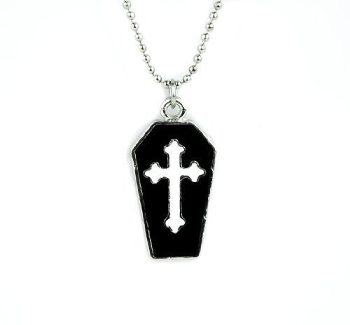 Small Coffin Necklace with White Cross