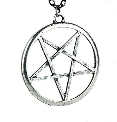 Antique Silver Finish Occult Pentagram Necklace