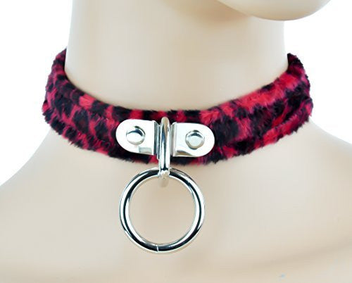 Red Fuzzy Leopard Animal Choker Sexy O Ring Fetish Collar