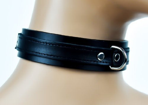 D Ring with Black Strap Choker Fetish Bondage Leather Collar