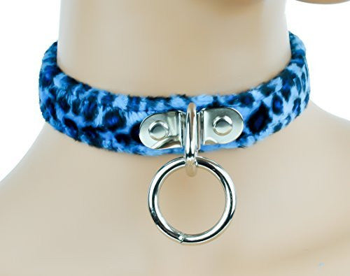 Blue Fuzzy Leopard Animal Choker Sexy O Ring Fetish Collar