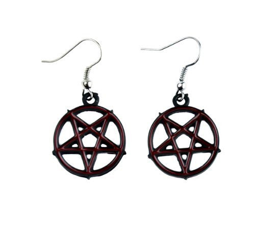 Red Inlay Inverted Pentagram Earrings Cosplay