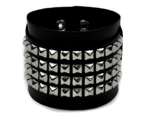 4 Row Silver Pyramid Stud Leather Wristband By Dysfunctional Doll Metal