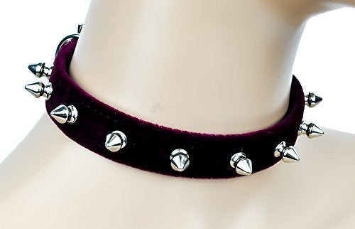 "Burgundy Velvet 1/2"" Silver Spiked Choker Soft Fashion Collar"