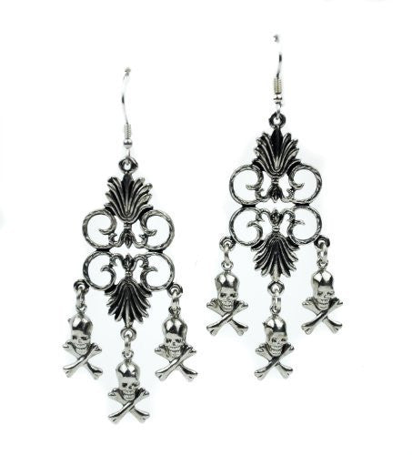 Dangle Skull & Crossbones Gothic Earrings Cosplay