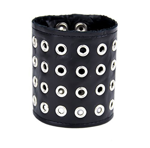 "4-Row Eyelet Bracelet Black Quality Leather 3"" Wide Metal"