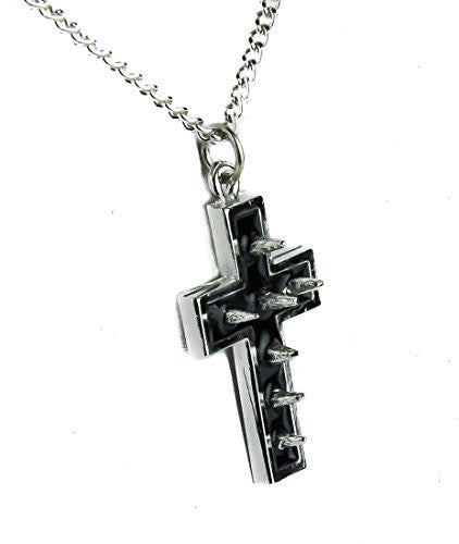 Silver Spike Cross Necklace with Black Inlay