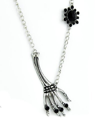 Skeleton Hand with Black Stone Necklace