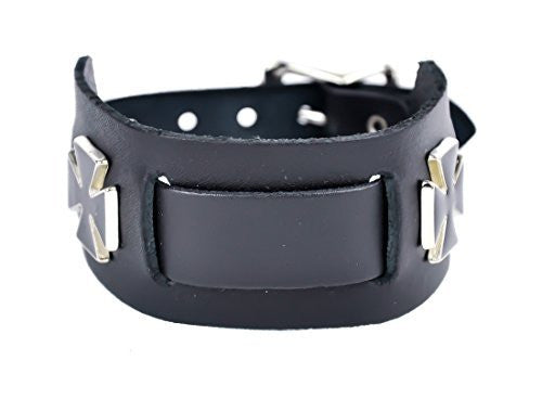 "Black Iron Cross Wristband Quality Leather 1-1/2"" Wide Metal"