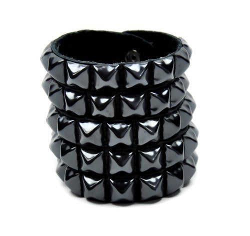 5 Row Black Pyramid Stud Leather Wristband by Dysfunctional Doll Metal