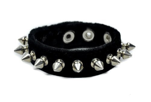 "Black Gothic Velvet Wristband with 1/2"" Silver Spikes by Dysfunctional Doll Metal"