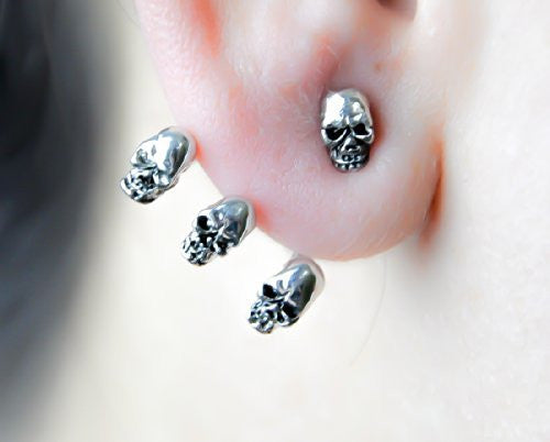 Wrap Around Skull Stud Earrings Cosplay