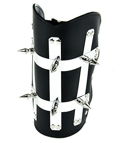 Heavy Metal Strip Spike Leather Wristband Armband Gauntlet