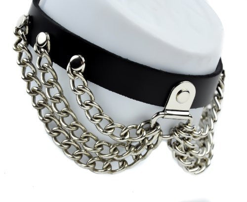 Silver Chain Leather Gothic Choker Collar Punk Elegant Gothic